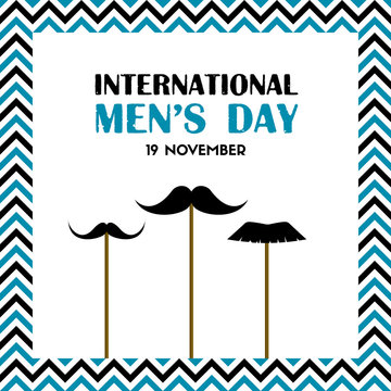 International men's day greeting card with fake mustache on sticks