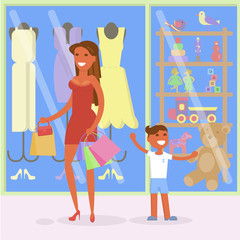 Family sale shopping concept