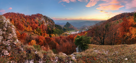 Wall Mural - Mountain autumn landscape with colorful forest, Vrsatec, Slovakia