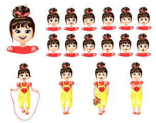 Cute Young Girl Emotions Set