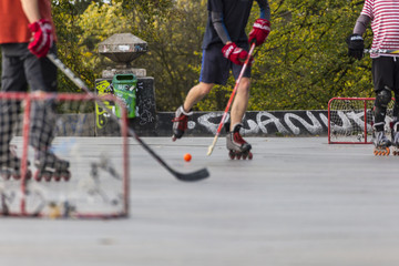 Street hockey low angle view