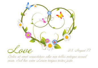 Love card template made from flowers