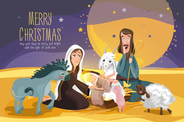 Christmas Bible Story. Christmas nativity card. Mary and Joseph looking at baby Jesus surrounded by cute baby animals and night in desert. Cartoon, flat style vector characters