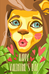 Happy Valentine's Day greeting card. Adorable, cartoon baby lion giving kisses in the jungle plants with red hearts and text