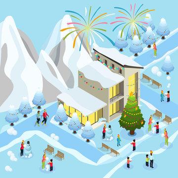 Isometric Christmas Celebration Concept