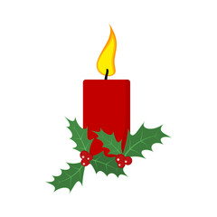 Christmas candle with holly berries. Vector illustration