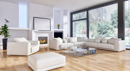 Modern bright interiors. 3D rendering illustration