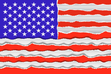 Abstract American flag from torned paper. Patriotic USA background. Vector illustration