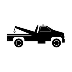 Breakdown truck it is black icon .