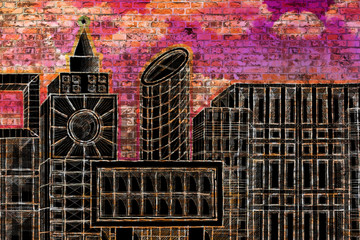 Housing concept image with painted skyline of a modern hypothetical city on a brick wall
