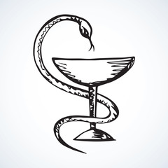 Snake on the bowl. Vector drawing