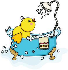 Happy yellow chick in bathtub with shower