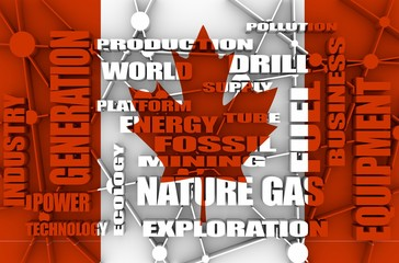 Nature gas relative tags cloud. Image relative to gas production and supply. Connected lines with dots. Flag of the Canada on backdrop. 3D rendering