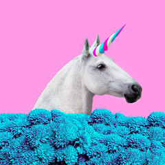 Unicorn collage with flowers