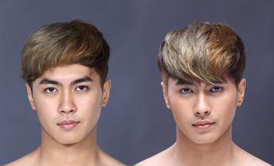 Asian man before make up hair style. no retouch, fresh face