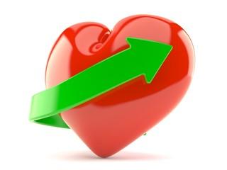 Heart with green arrow