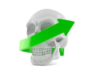 Skull with green arrow