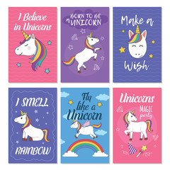 Unicorn greeting card set. Great design for postcard, birthday invitation card and children's party