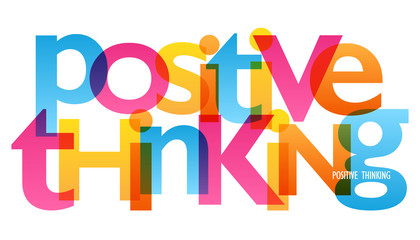 POSITIVE THINKING Colourful Vector Letters Icon