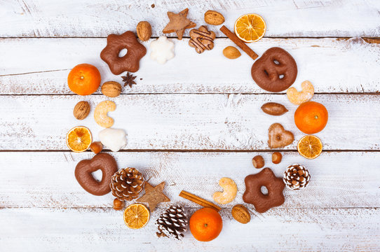Christmas food flat lay round circle on white table