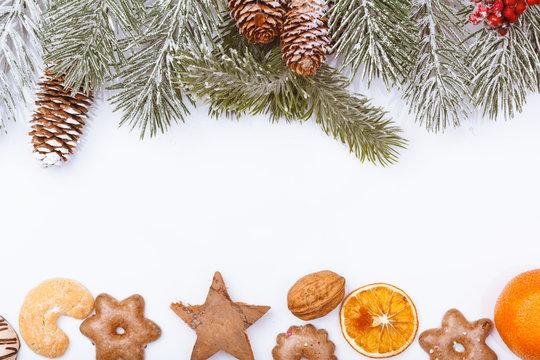 Christmas nature and food frame border on white