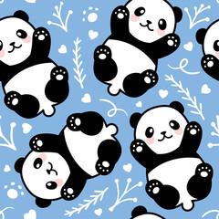 Cute Cartoon Panda Seamless Pattern Background, Vector illustration
