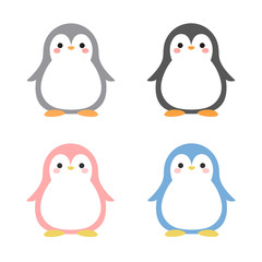 Cartoon Penguin Icon Set, Vector illustration