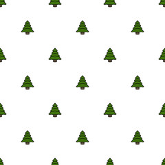 Christmas Tree Seamless Pattern, Cute Pine Tree Background, Vector illustration