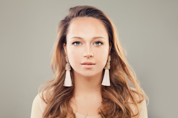 Perfect Woman with Natural Makeup and Beige Earrings, Fashion Portrait