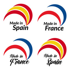 Simple logos Made in Spain, Made in France, vector logos with Spain, France flags