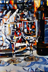Cutlery and glasses on the table. The bar's theme done in the style of modern abstraction. Oil on canvas with elements of acrylic painting.