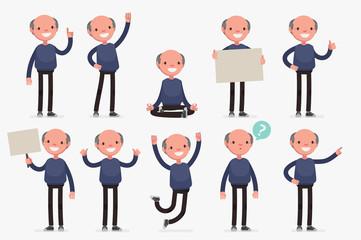 Elderly character set: Vector illustration of senior man in casual cloth.