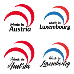 Simple logos Made in Austria, Made in Luxembourg, vector logos with Austria, Luxembourg flags.