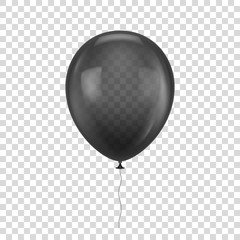 Black realistic balloon. White ball isolated on a transparent background for designers and illustrators. Balloon as a vector illustration