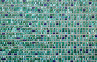Green mosaic tiles. Background texture