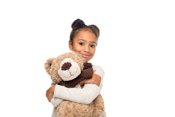 african american child with teddy bear