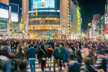 Fototapete - Pedestrians crosswalk at Shibuya Tokyo