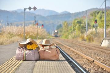 秋のプラットホーム・鉄道の旅