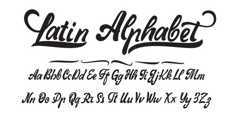 Latin alphabet, hand made, font for your design.