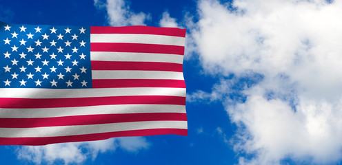 image of the American flag against the sky
