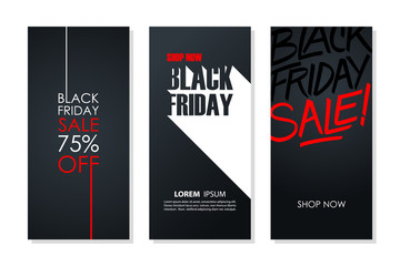 Black Friday Sale flyers set for business, commerce, promotion and advertising. Vector illustration.