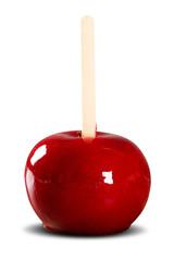 Toffee apple on white background. Maçã do amor