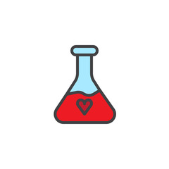 Potion with heart filled outline icon, line vector sign, linear colorful pictogram isolated on white. Symbol, logo illustration. Pixel perfect vector graphics