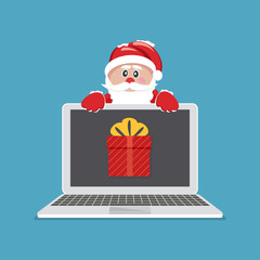 Laptop with gift. Santa Claus giving gift on laptop. Vector Illustration.