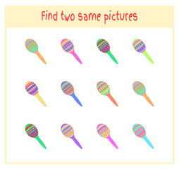 Cartoon Vector Illustration of Finding Two Exactly the Same Pictures Educational Activity for Preschool Children with maraca