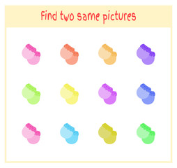 Cartoon Vector Illustration of Finding Two Exactly the Same Pictures Educational Activity for Preschool Children with mitten