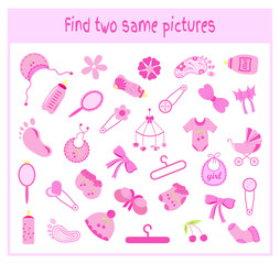 Cartoon Vector Illustration of Finding Two Exactly the Same Pictures Educational Activity for Preschool Children with items for children and babies