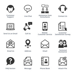 Contact Us Icons Set 1 - Black Series. Set of icons representing customer assistance, customer service and support.