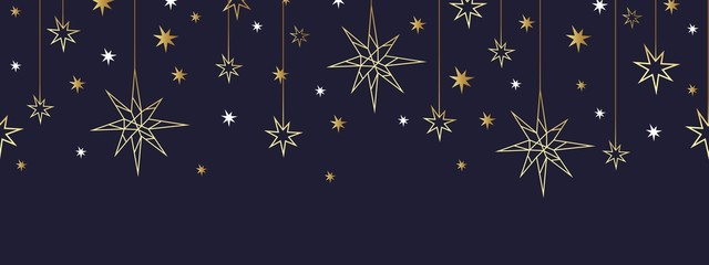 Christmas and Happy New Year gold seamless pattern