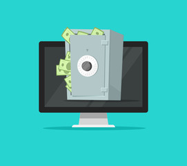 Computer with safe box full of paper money vector illustration, flat cartoon design of pc with protected cash in vault, concept of internet money security or protection, online safety, secure deposit